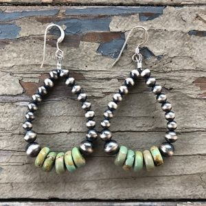Olive Green Turquoise Navajo Pearl Style Loops